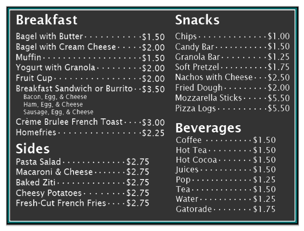 Carmens Breakfast Menu